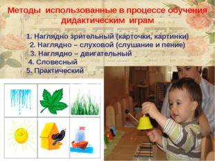 Методы использованные в процессе обучения дидактическим играм Наглядно зрител