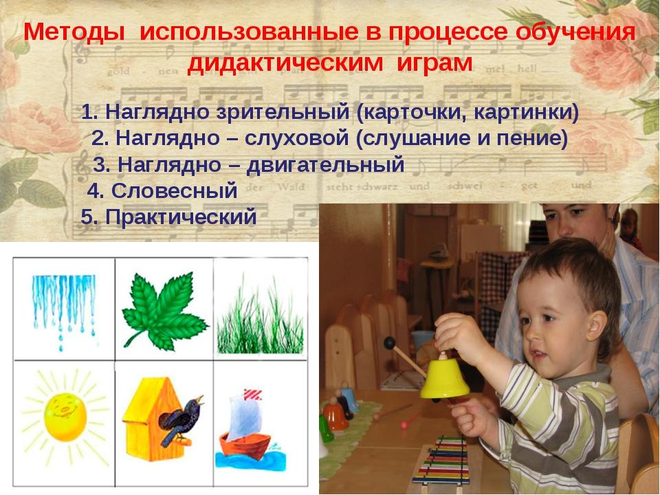 Методы использованные в процессе обучения дидактическим играм Наглядно зрител...