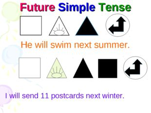 Future Simple Tense He will swim next summer. I will send 11 postcards next w