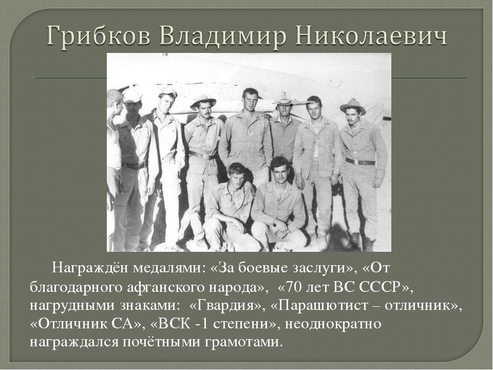 Награждён медалями: «За боевые заслуги», «От благодарного афганского народа»...