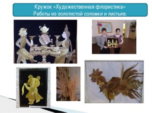 Кружок «Художественная флористика» Работы из золотистой соломки и листьев.