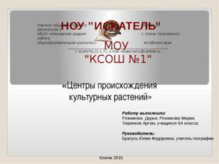 Научное общество учащихся 658980 ул. Делегатская-3 МБОУ «Ключевская средняя