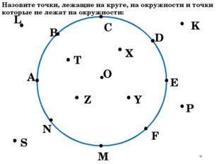 О А В С D E F M N P K L S T Z X Y Назовите точки, лежащие на круге, на окружн
