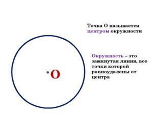О Точка О называется центром окружности Окружность – это замкнутая линия, все