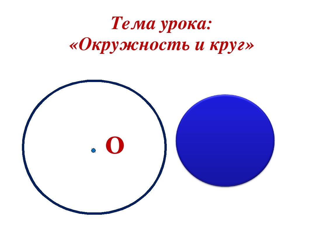О Тема урока: «Окружность и круг»