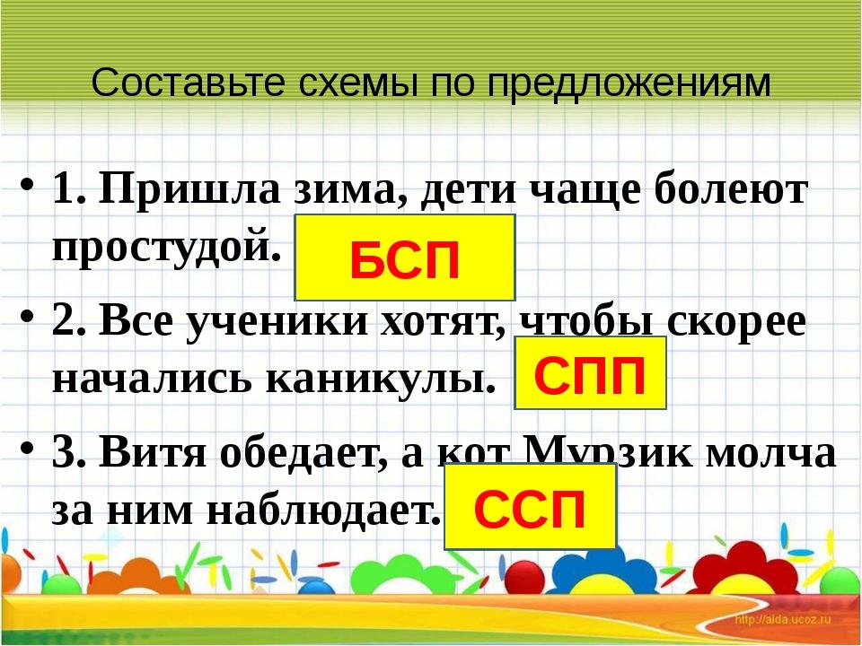 Составьте схемы по предложениям 1. Пришла зима, дети чаще болеют простудой. 2...