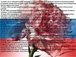 За девять лет в Северной Осетии совершено 13 террористических актов. В них по