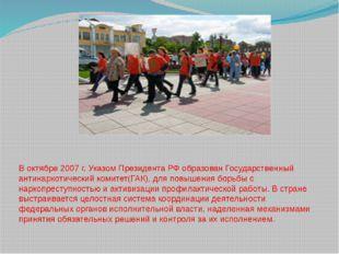 В октябре 2007 г. Указом Президента РФ образован Государственный антинаркотич