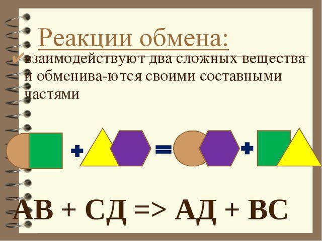 АВ + СД=> АД + ВС взаимодействуют два сложных вещества и обмениваются своим...
