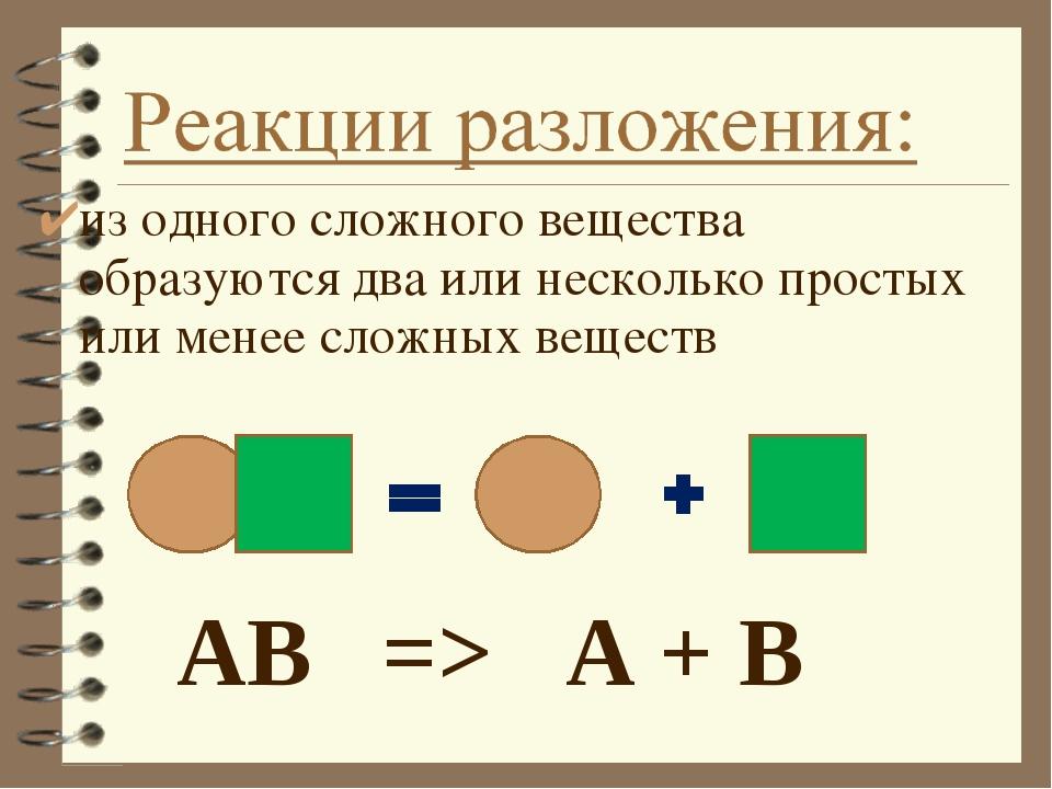 АВ => А + В из одного сложного вещества образуются два или несколько про...