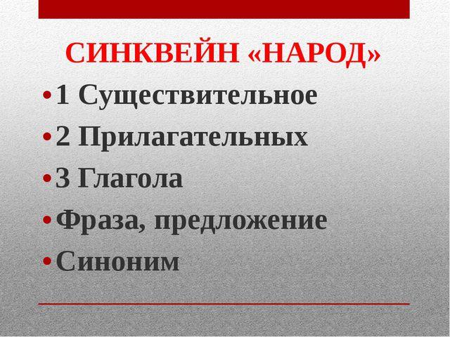 СИНКВЕЙН «НАРОД» 1 Существительное 2 Прилагательных 3 Глагола Фраза, предложе...