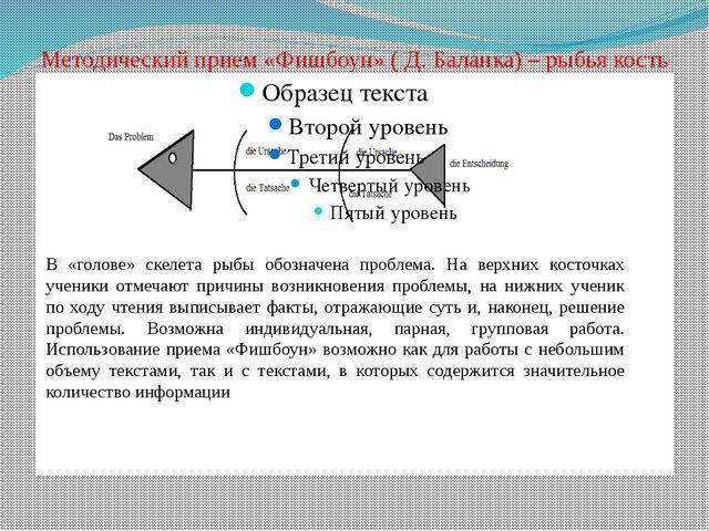 Методический прием «Фишбоун» ( Д. Баланка) – рыбья кость В «голове» скелета р...
