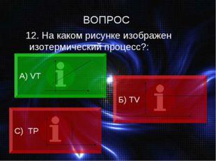 12. На каком рисунке изображен изотермический процесс?: А) VT Б) ТV C) ТР ВО