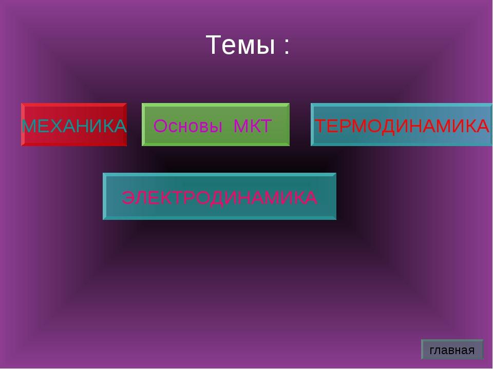 Темы : МЕХАНИКА ТЕРМОДИНАМИКА Основы МКТ ЭЛЕКТРОДИНАМИКА главная