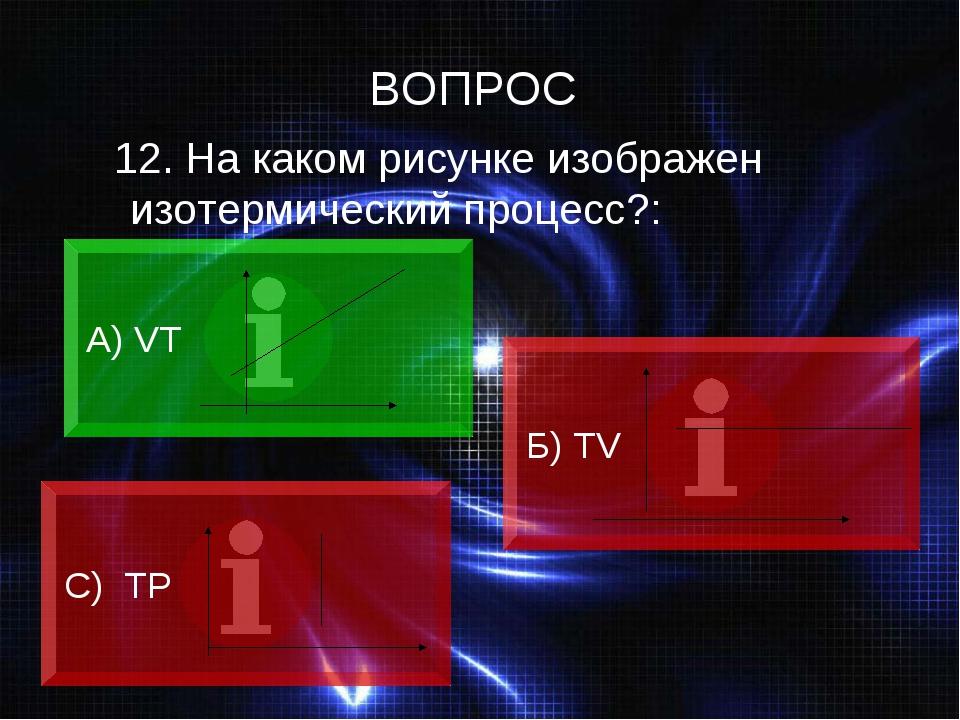 12. На каком рисунке изображен изотермический процесс?: А) VT Б) ТV C) ТР ВО...