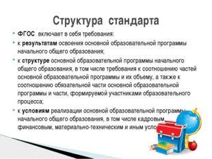 ФГОС включает в себя требования: к результатам освоения основной образовател