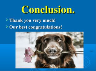 Conclusion. Thank you very much! Our best congratulations!
