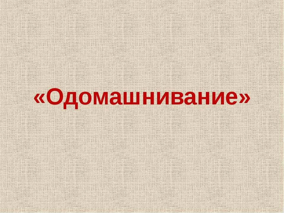 «Одомашнивание»