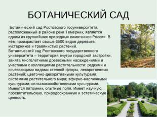 БОТАНИЧЕСКИЙ САД Ботанический сад Ростовского госуниверситета, расположенный