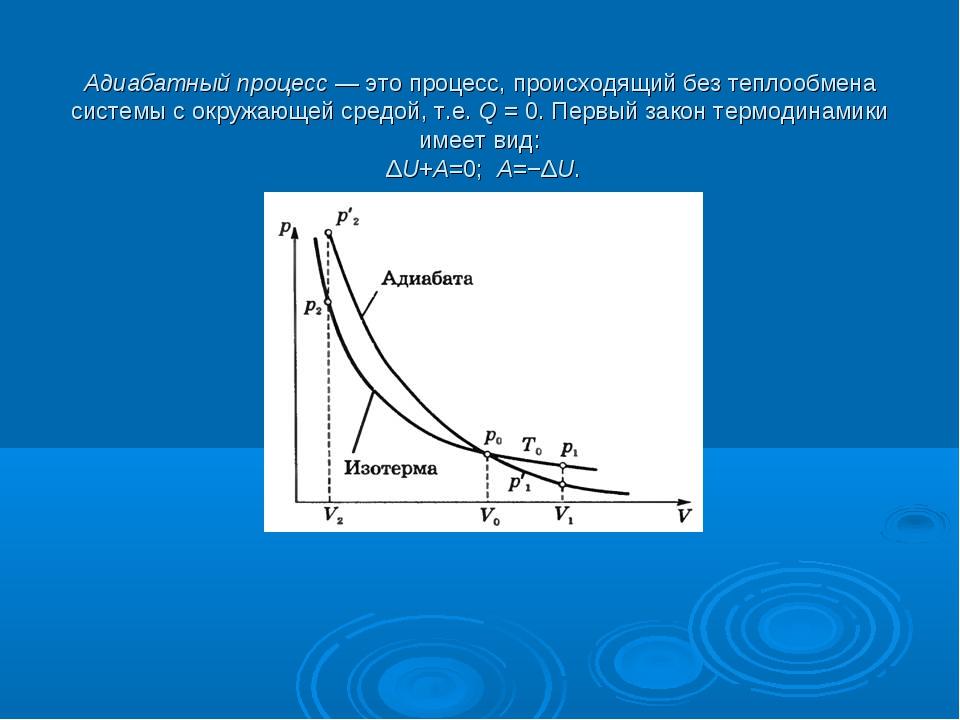 Адиабатный процесс— это процесс, происходящий без теплообмена системы с окр...