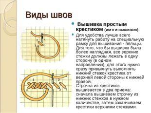Виды швов Вышивка простым крестиком (им я и вышиваю) Для удобства лучше всего