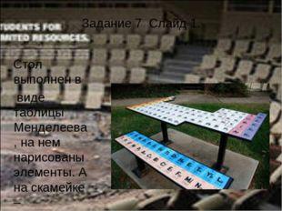 Задание 7 Слайд 1. Стол выполнен в виде таблицы Менделеева, на нем нарисованы