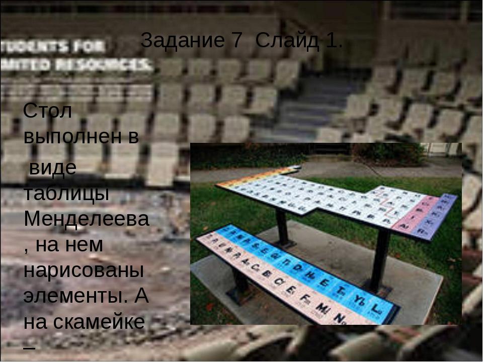 Задание 7 Слайд 1. Стол выполнен в виде таблицы Менделеева, на нем нарисованы...