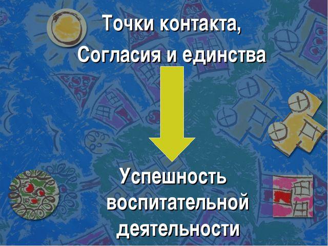 Точки контакта, Согласия и единства Успешность воспитательной деятельности