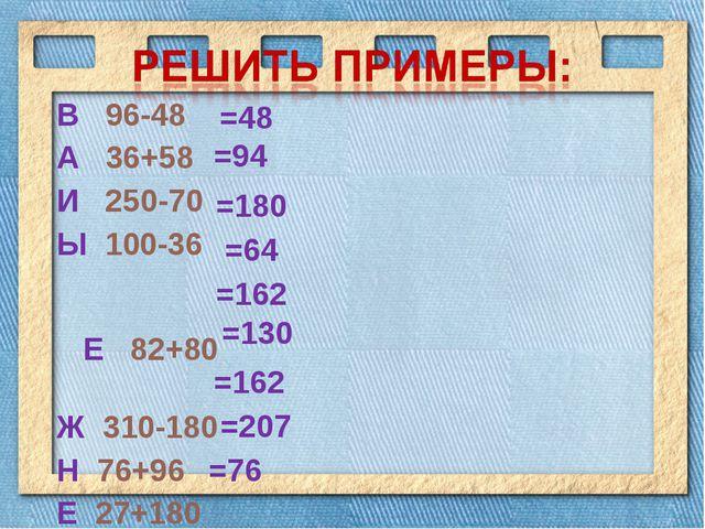 В 96-48 А 36+58 И 250-70 Ы 100-36 Е 82+80 Ж 310-180 Н 76+96 Е 27+180 Р 19+57...