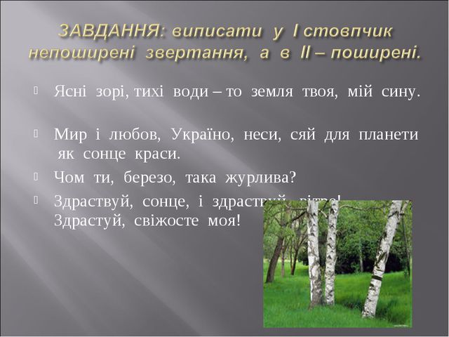 Ясні зорі, тихі води – то земля твоя, мій сину. Мир і любов, Україно, неси, с...