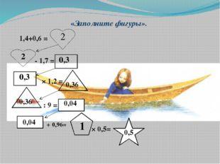 «Заполните фигуры». 1,4+0,6 = - 1,7 = × 1,2 = : 9 = + 0,96= × 0,5= 2 2 0,3 0