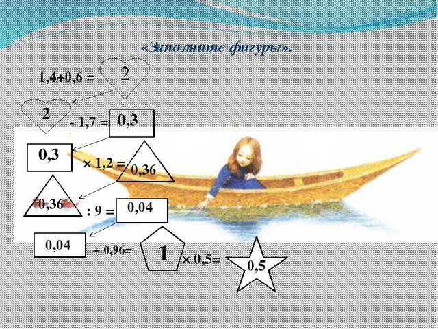 «Заполните фигуры». 1,4+0,6 = - 1,7 = × 1,2 = : 9 = + 0,96= × 0,5= 2 2 0,3 0...