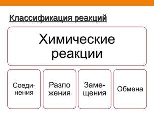 Классификация реакций