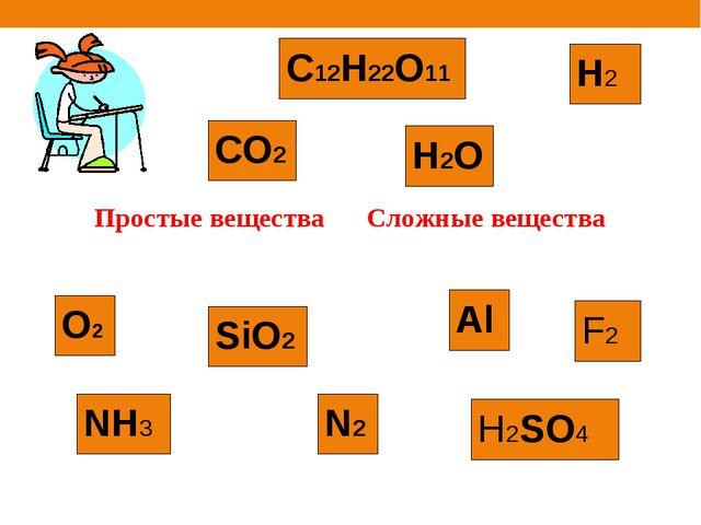NH3 N2 H2O Al CO2 О2 C12H22O11 Н2 SiO2 H2SO4 F2 Простые веществаСложные веще...