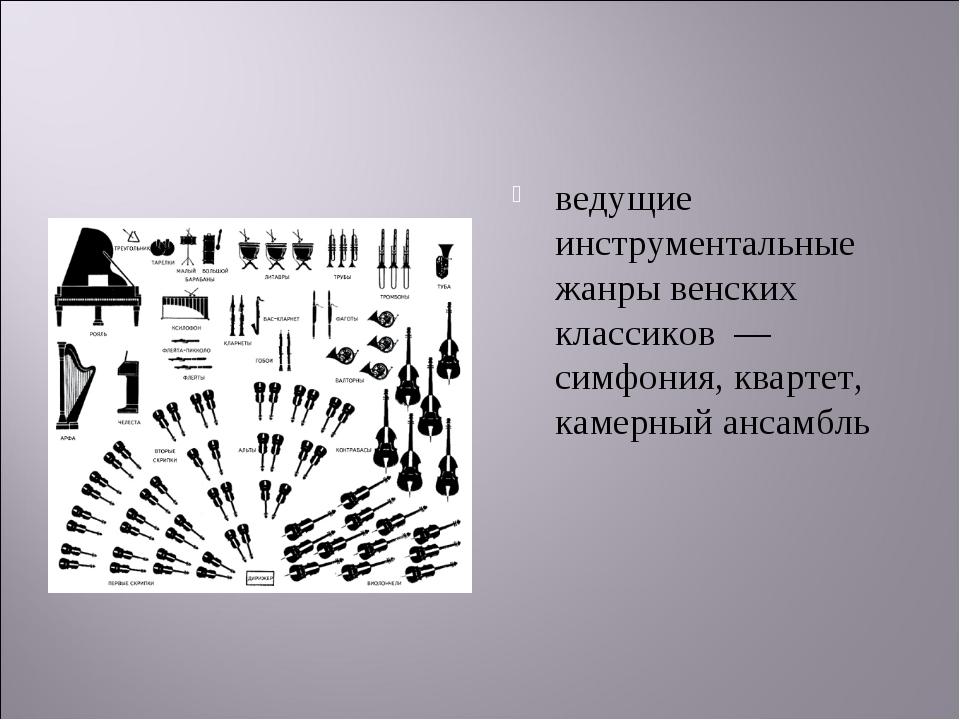 ведущие инструментальные жанры венских классиков —симфония, квартет, камерны...