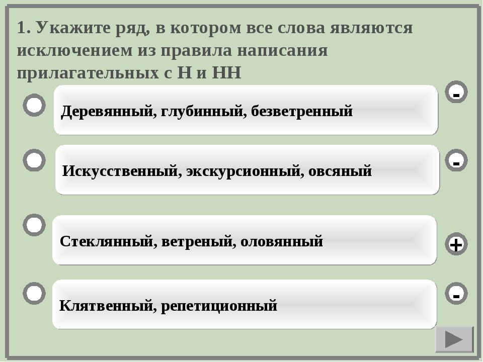 1. Укажите ряд, в котором все слова являются исключением из правила написания...