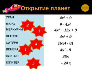 ТАЙНАЯ ПЛАНЕТА ( 2а -1)² - 4а² 4а ( а -2) – (а- 2)² + 4 (а + 2) ( а+ 4) – (а