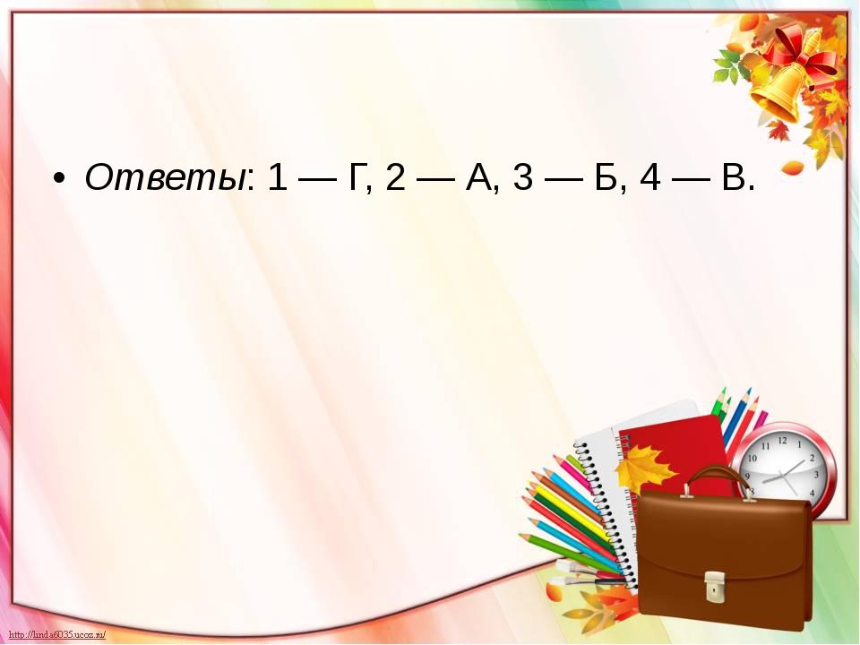 Ответы: 1 — Г, 2 — А, 3 — Б, 4 — В.