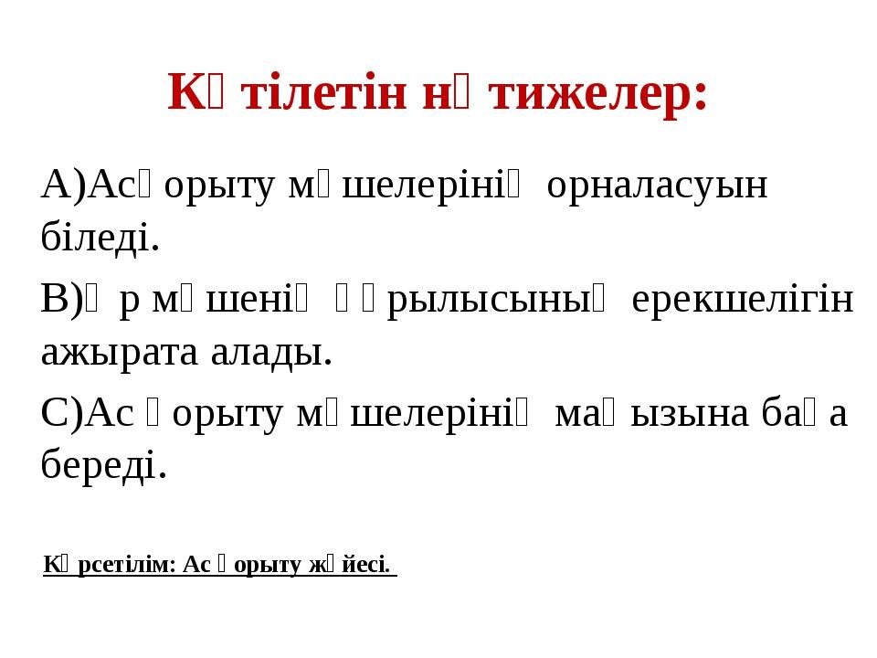 Күтілетін нәтижелер: А)Асқорыту мүшелерінің орналасуын біледі. В)Әр мүшенің қ...