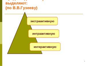 * Среди моделей обучения выделяют: (по В.В.Гузееву) экстраактивную интраактив