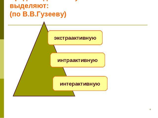 * Среди моделей обучения выделяют: (по В.В.Гузееву) экстраактивную интраактив...