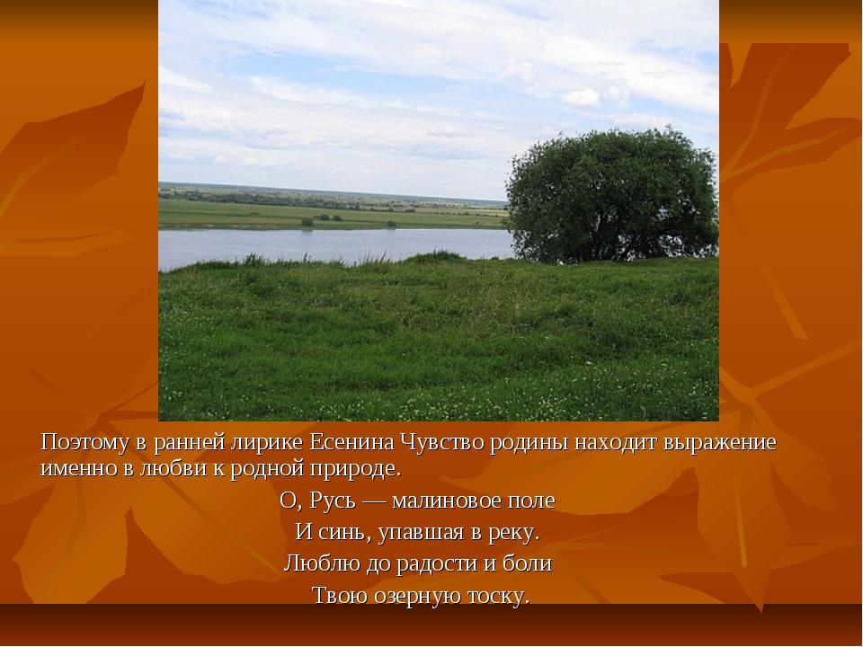 Поэтому в ранней лирике Есенина Чувство родины находит выражение именно в л...