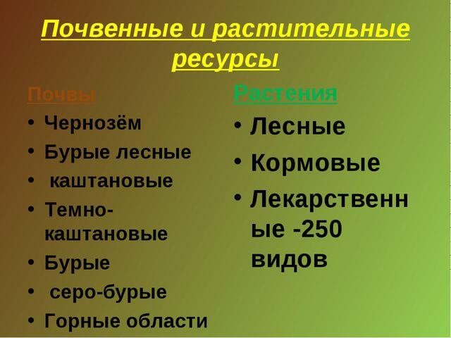 Почвенные и растительные ресурсы Почвы Чернозём Бурые лесные каштановые Темно...
