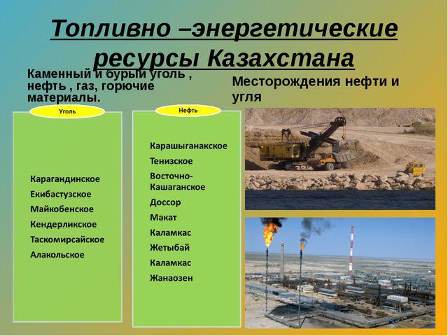 Топливно –энергетические ресурсы Казахстана Каменный и бурый уголь , нефть ,...