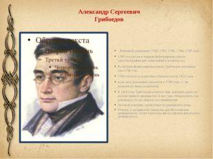 Александр Сергеевич Грибоедов Варианты рождения: 1790, 1792, 1793, 1794, 1795