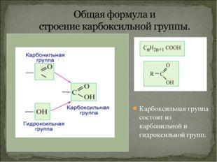 Карбоксильная группа состоит из карбонильной и гидроксильной групп.