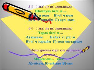 3-Җөмләне тәмамлагыз: Шампунь белән ... А) идән юам Б) чәч юам В) чәч тарыйм