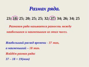Размах ряда. Размахом ряда называется разность между наибольшим и наименьшим