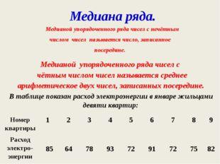 Медианой упорядоченного ряда чисел с нечётным числом чисел называется число,