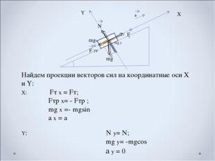 F Т mg F ТР N α а Х Y Найдем проекции векторов сил на координатные оси Х и Y: